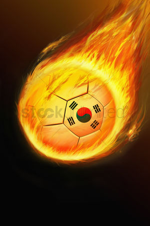 Korea republic : Flaming korea soccer ball