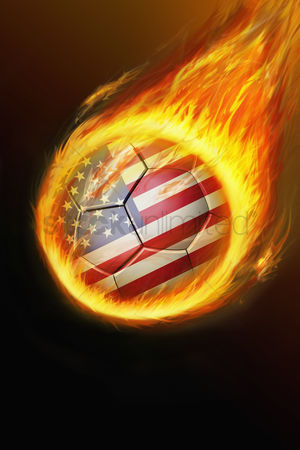 Nationality : Flaming usa soccer ball