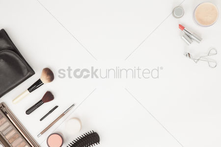 Blank : Flatlay of makeup accessories