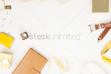 Accessories : Flatlay of white background with feminine accesories