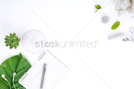 Fashion : Flatlay of white background with notepad and leaf