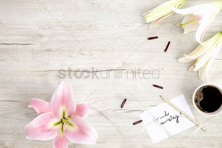 Blank : Flatlay of wooden background and lilies