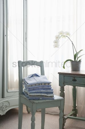 Houseplant : Folded shirts on  bedroom chair