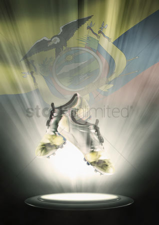 Nationality : Football cleats with ecuador flag backdrop