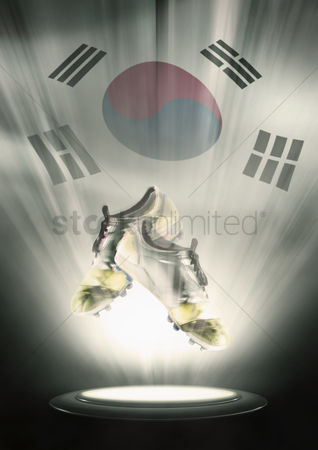 Korea republic : Football cleats with south korea flag backdrop