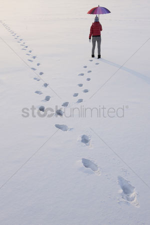 Cold temperature : Footprints of woman walking on snow