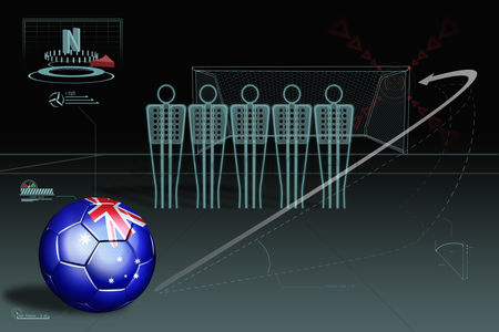 Nationality : Free kick infographic with australia soccer ball