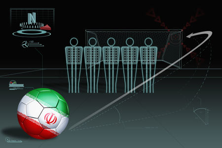 Iran : Free kick infographic with iran soccer ball