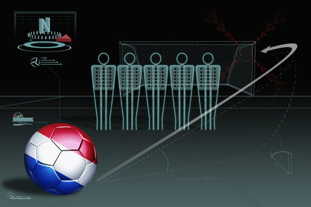 Nationality : Free kick infographic with netherlands soccer ball