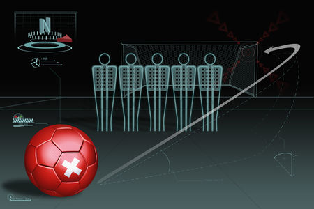 Nationality : Free kick infographic with switzerland soccer ball