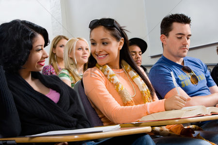 High school : Friends sitting in class lecture