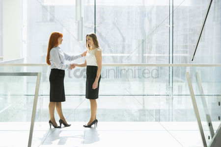 Businesswomen : Full-length of businesswomen shaking hands at office hallway
