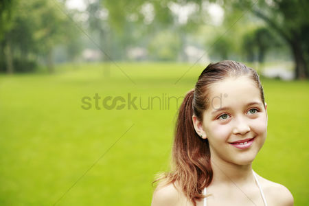 Grass : Girl smiling