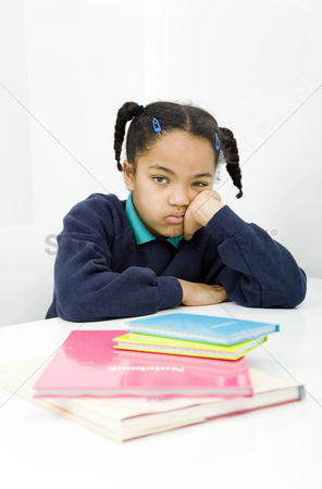 School children : Girl with bored look