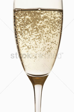 Food  beverage : Glass of champagne close up in studio