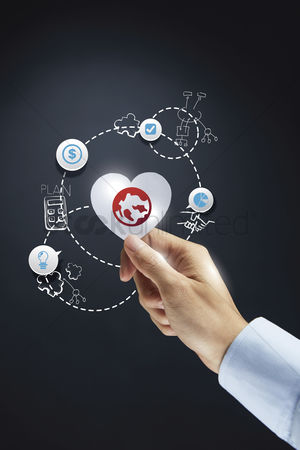 Heart shapes : Global business concept