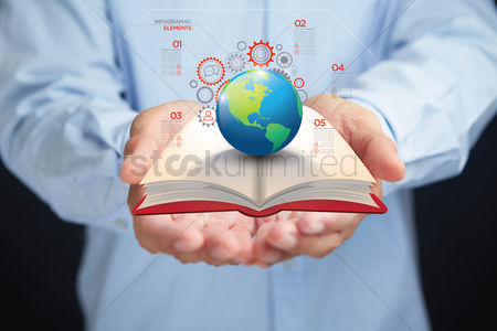 Earth  graphic vector : Global education concept