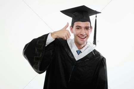 University : Graduate showing thumbs up