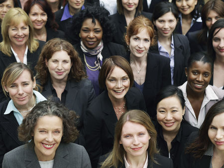 Office worker : Group of business women looking up portrait elevated view close up