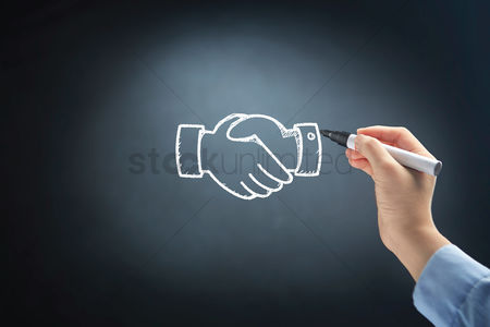 Handdrawn : Hand drawing business handshake