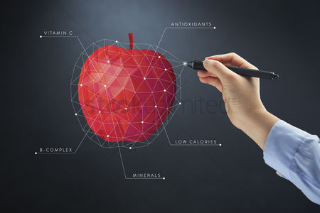 Hold : Hand drawing polygonal apple concept