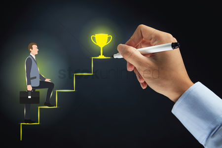 Steps : Hand drawing stairway to success for a businessman