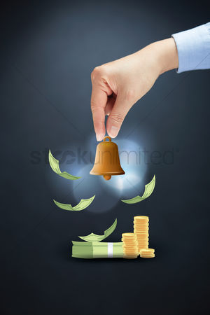 Alert : Hand gesture with financial bell concept