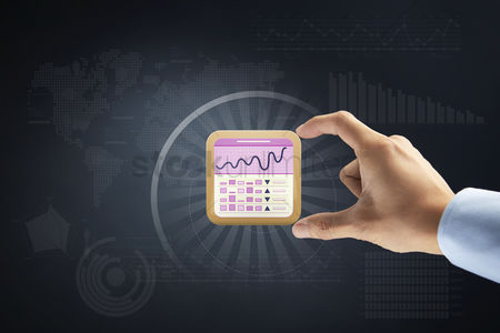 Applications : Hand gesture with stock market icon