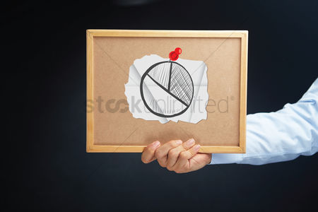 Cork board : Hand holding a board with pie chart concept