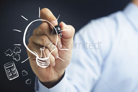 Match : Hand holding a marker pen with business innovation concept