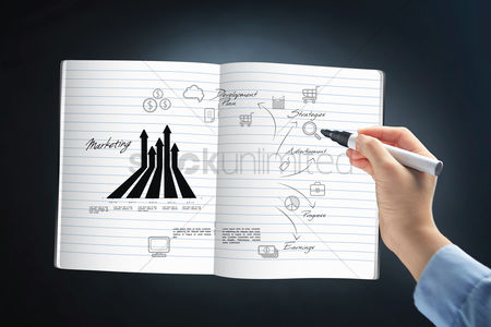 Shopping cart : Hand holding a marker pen with marketing graph and icons
