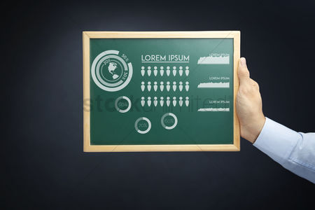 Count : Hand holding blackboard with infographic elements