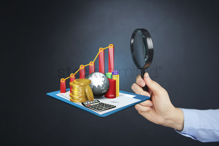 Earth  graphic vector : Hand holding magnifying glass with global financial analysis concept
