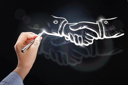 Business : Hand illustrating business deal concept