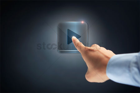 Points : Hand pointing at play button icon