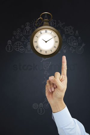 Pocket : Hand pointing at pocket watch