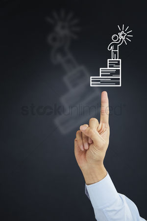 Steps : Hand pointing towards ladder to success icon