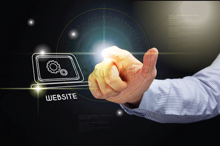 Show : Hand pointing with website development concept