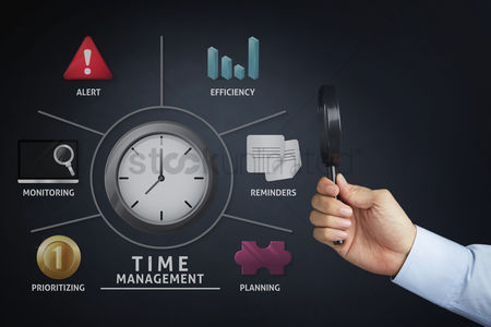 Alert : Hand presenting a time management diagram concept