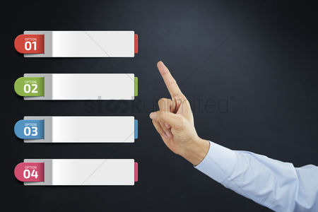 Selection : Hand presenting business option template concept