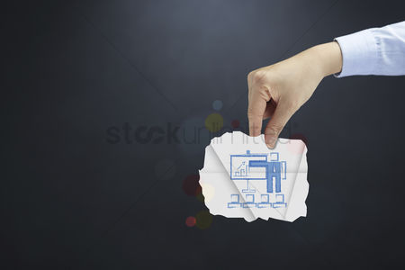 Handdrawn : Hand presenting business performance concept
