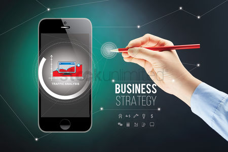 Applications : Hand presenting business strategy on smartphone with stylus concept