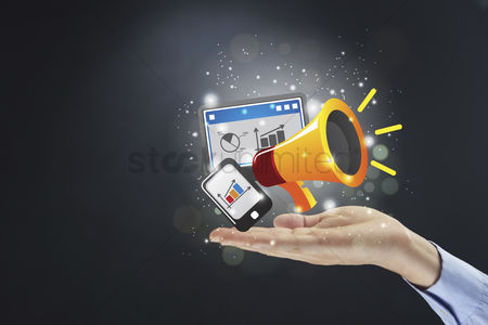 Instruction : Hand presenting online marketing concept