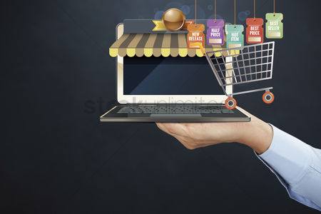Shopping cart : Hand presenting online shopping concept