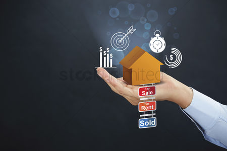 Sales person : Hand presenting property concept