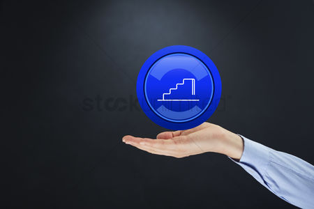 Staircase : Hand presenting success icon
