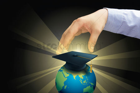 Earth  graphic vector : Hand reaching out towards global education concept