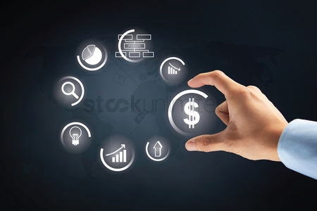 Selection : Hand with business finance option on transparent board concept