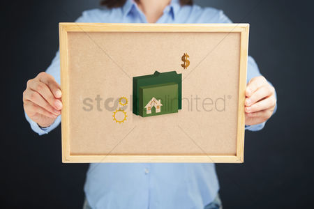 Cork board : Hands holding a board with property icon