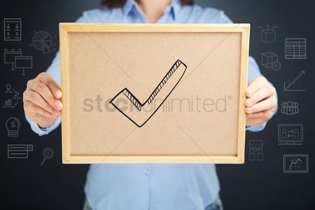 Handdrawn : Hands holding a cork board with tick sign